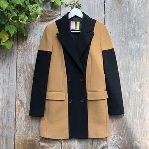 MSGM camel / black color block wool winter coat XS